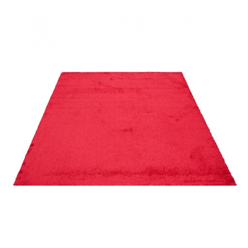 Teppich Rot einfarbig 160x230 cm, Hochflor