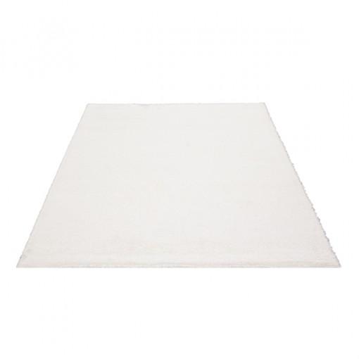 Teppich Weiß einfarbig 060x115 cm, Hochflor