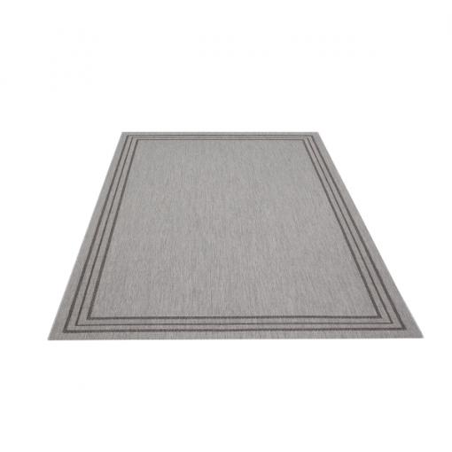 Teppich Grau gemustert 200x290 cm, Flachgewebe, In- und Outdoor