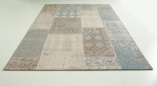Teppich Blau gemustert 160x230 cm, Flachgewebe
