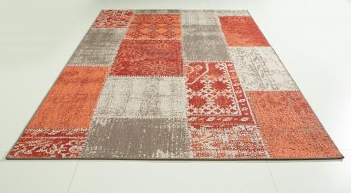 Teppich Rot-Braun gemustert 160x230 cm, Flachgewebe