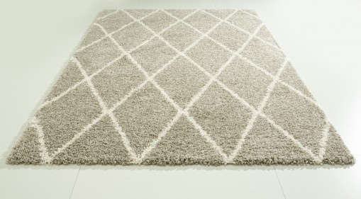Teppich Raute Grau gemustert 120x170 cm, Hochflor