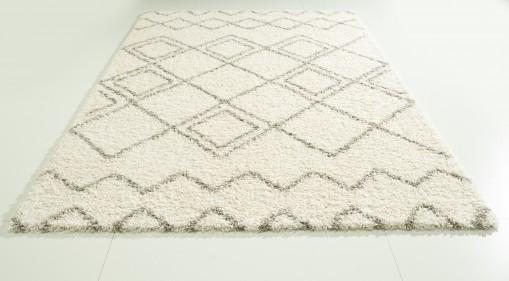 Teppich Raute Creme gemustert 120x170 cm, Hochflor