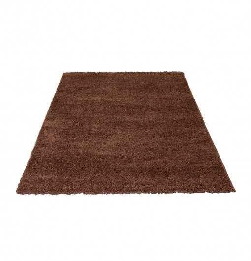 Teppich Taupe einfarbig 060x110 cm, Hochflor