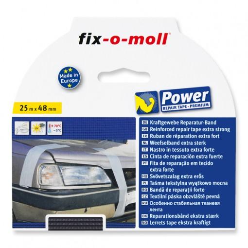 Gewebe-Reparaturband fix-o-moll, Schwarz, Premium 25m x 48mm