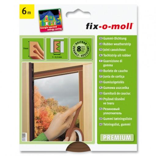 E-Profil Gummidichtung fix-o-moll, Braun, 6m x 9mm x 4mm