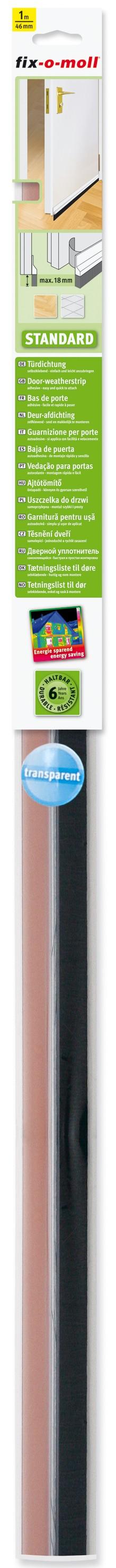 Türdichtung Standard fix-o-moll mit Bürste, transparent 1m x 46mm