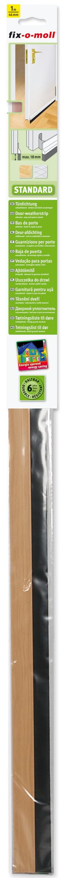 Türdichtung Standard fix-o-moll mit Bürste, Eiche, 1m x 46mm