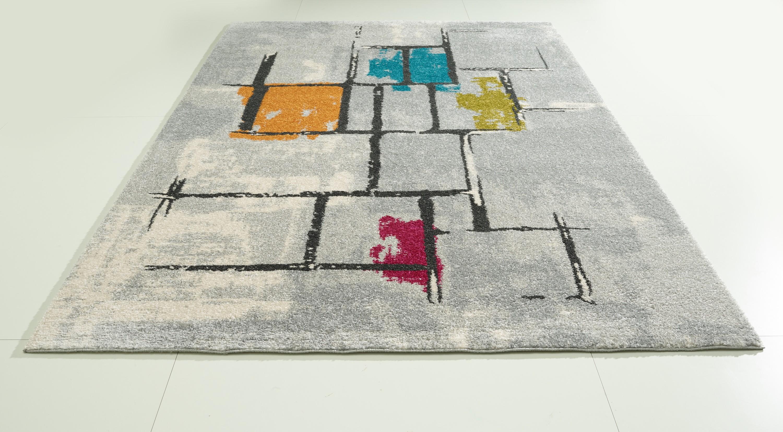 Teppich grau bunt gemustert cm frisee modern klick