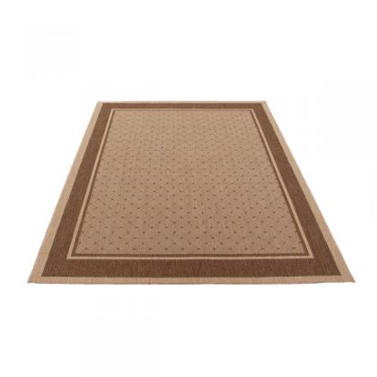 Teppich Beige gemustert 080x150 cm, Flachgewebe, In- und Outdoor