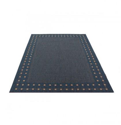 Teppich Blau gemustert 060x110 cm, Flachgewebe, In- und Outdoor