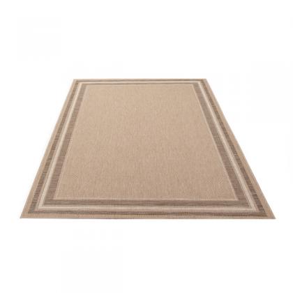Teppich Beige gemustert 080x200 cm, Flachgewebe, In- und Outdoor