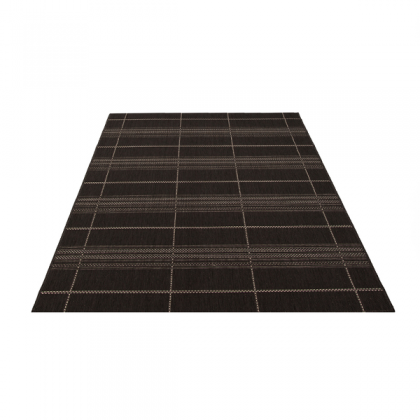 Teppich Schwarz gemustert 080x150 cm, Flachgewebe, In- und Outdoor