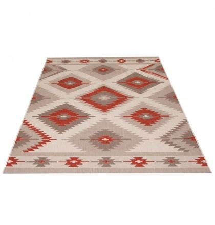 Teppich Rot-Grau gemustert 060x110 cm, Flachgewebe, In- und Outdoor