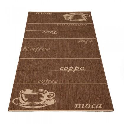 Teppich Braun gemustert 080x200 cm, Flachgewebe