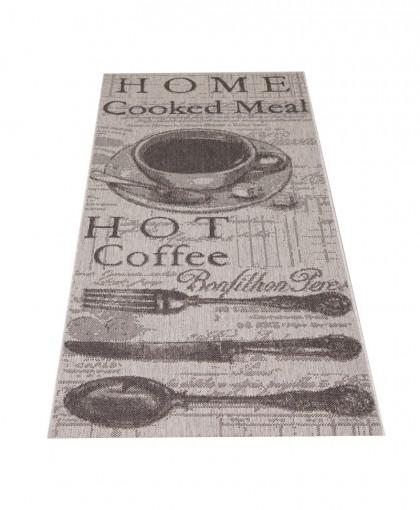 Teppich Grau gemustert 080x200 cm, Flachgewebe