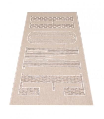 Teppich Beige gemustert 080x200 cm, Flachgewebe