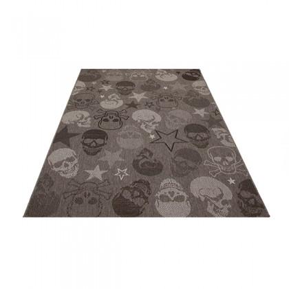 Teppich Totenkopf Grau gemustert 120x170 cm, Flachgewebe