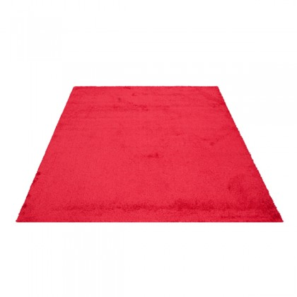 Teppich Rot einfarbig 080x150 cm, Hochflor