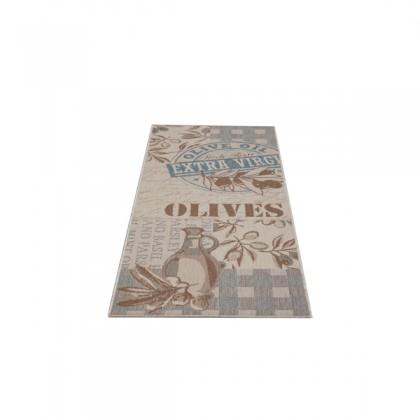Teppich Blau-Beige gemustert 080x200 cm, Flachgewebe