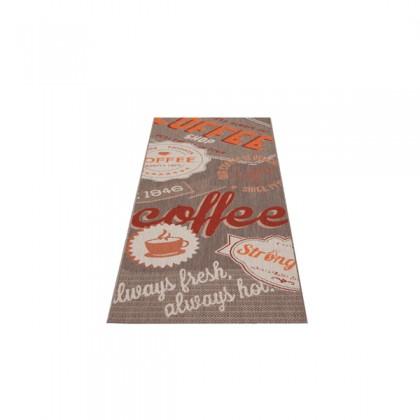 Teppich Rot-Braun gemustert 080x200 cm, Flachgewebe