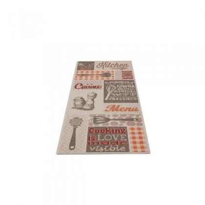 Teppich Rot-Beige gemustert 080x200 cm, Flachgewebe