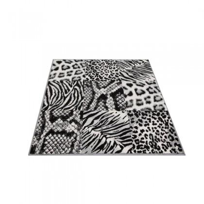 Teppich Felle Grau-Schwarz gemustert 120x170 cm, Frisee Modern