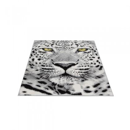 Teppich Leopard Schwarz-Weiß gemustert 120x170 cm, Frisee Modern