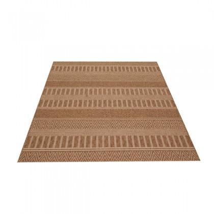 Teppich Braun gemustert 120x170 cm, Flachgewebe, In- und Outdoor