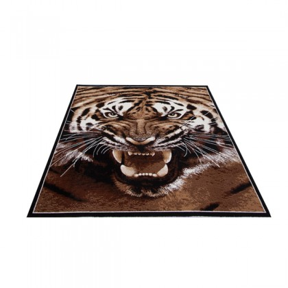 Teppich Tiger Braun Motiv 115x160 cm, Frisee Modern
