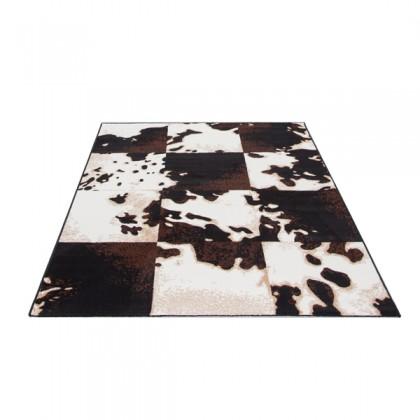 Teppich Kuhfell Braun-Weiß gemustert 115x160 cm, Frisee Modern