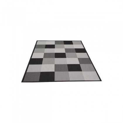 Teppich Schwarz-Grau gemustert 080x150 cm, Flachgewebe