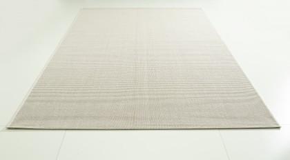 Teppich Weiß einfarbig 080x150 cm, Flachgewebe, In- und Outdoor
