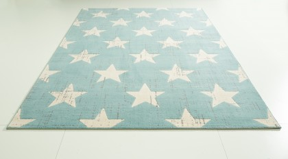 Teppich Sterne Hellblau gemustert 120x170 cm, Frisee Modern
