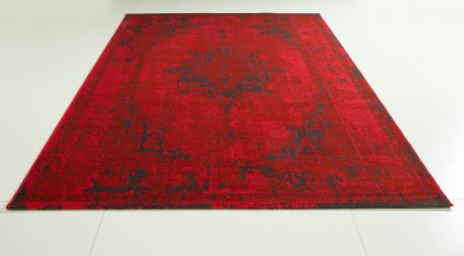 Teppich Rot gemustert 080x150 cm, Frisee Modern
