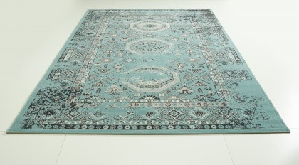 Teppich Türkis gemustert 120x170 cm, Frisee Modern