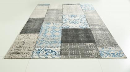 Teppich Grau-Blau gemustert 120x170 cm, Frisee Modern