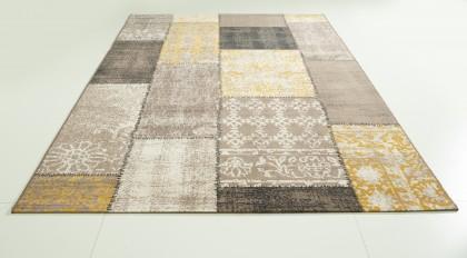 Teppich Gelb-Braun gemustert 160x230 cm, Frisee Modern