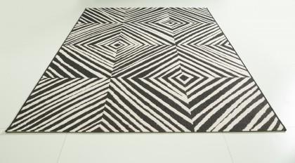 Teppich Schwarz-Weiß gemustert 120x170 cm, Flachgewebe, In- und Outdoor