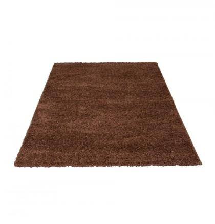 Teppich Braun einfarbig rund 140 cm, Hochflor