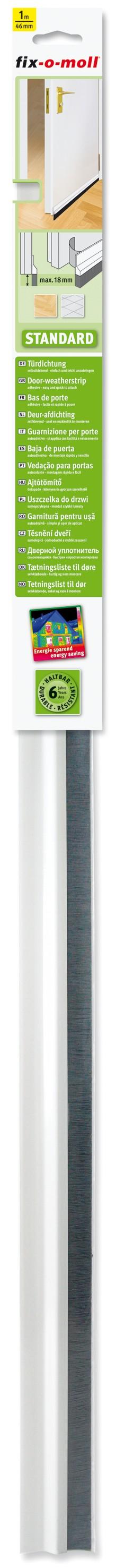 Türdichtung Standard fix-o-moll mit Bürste, Weiß, 1m x 46mm