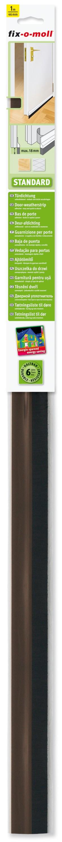 Türdichtung Standard fix-o-moll mit Bürste, Braun, 1m x 46mm