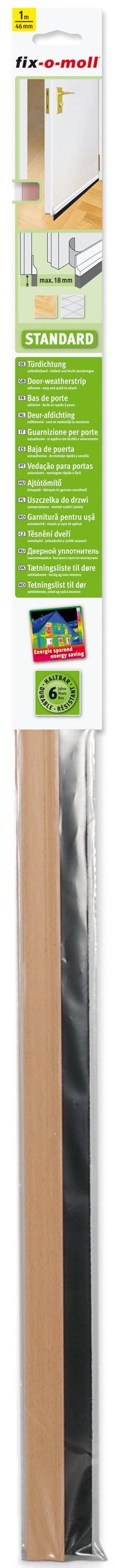 Türdichtung Standard fix-o-moll mit Bürste, Buche, 1m x 46mm