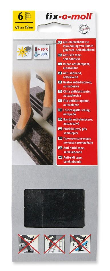 Anti-Rutschband fix-o-moll, Schwarz, selbstklebend 61cm x 19mm, 6 St.